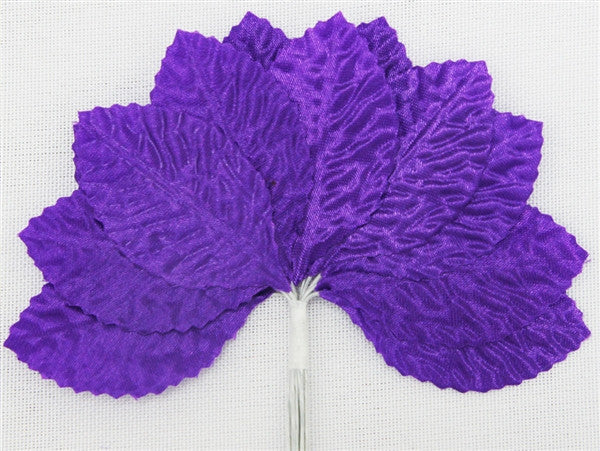 144 Purple Satin Corsage and Boutonniere Wired Craft Leafs DIY Wedding Projects