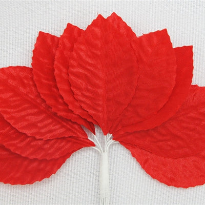 144 Red Satin Corsage and Boutonniere Wired Craft Leafs DIY Wedding Projects