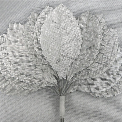 144 Silver Satin Corsage and Boutonniere Wired Craft Leafs DIY Wedding Projects