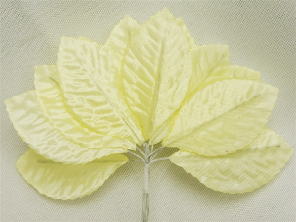 144 Yellow Satin Corsage and Boutonniere Wired Craft Leafs DIY Wedding Projects