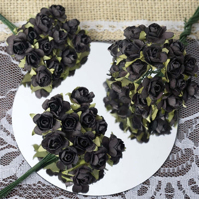 144 Black Paper Mini Flower Roses For DIY Wedding Card Craft Party Favors Decorations
