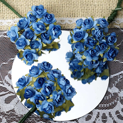144 Baby Blue Paper Mini Flower Roses For DIY Wedding Card Craft Party Favors Decorations