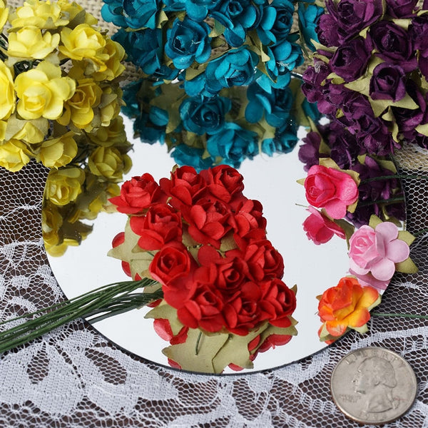 144 Eggplant Paper Mini Flower Roses For DIY Wedding Card Craft Party Favors Decorations