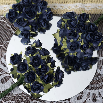 144 Navy Blue Paper Mini Flower Roses For DIY Wedding Card Craft Party Favors Decorations