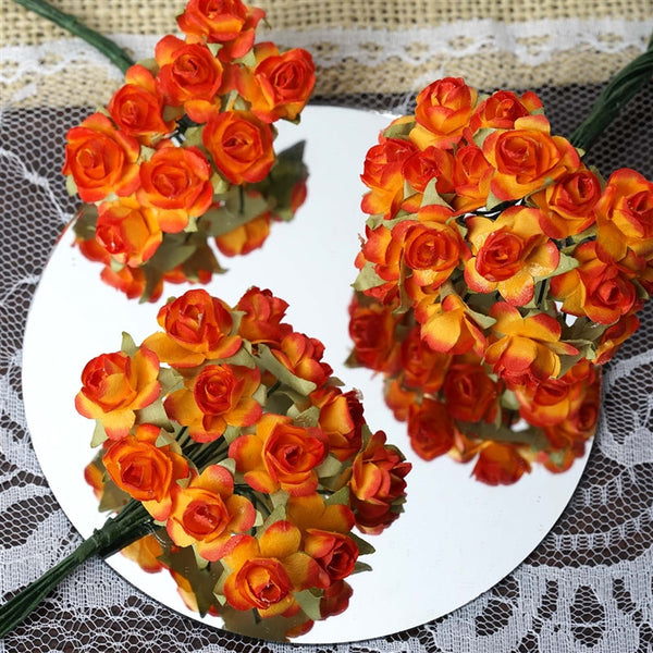 144 Orange Paper Mini Flower Roses For DIY Wedding Card Craft Party Favors Decorations