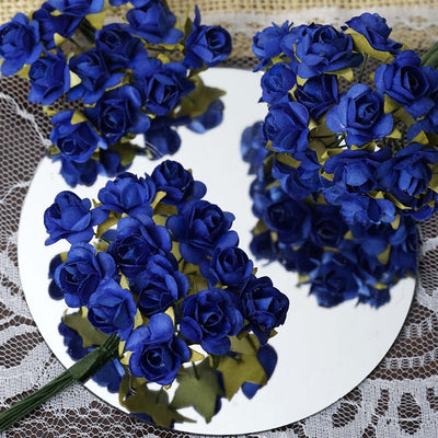 144 Royal Blue Paper Mini Flower Roses For DIY Wedding Card Craft Party Favors Decorations