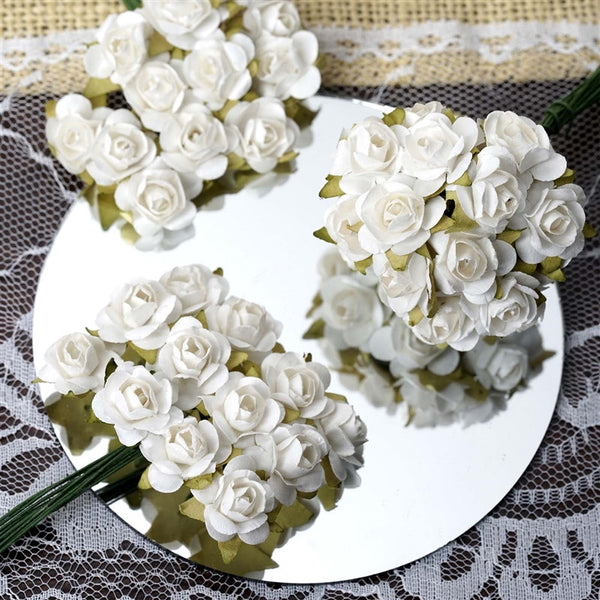 144 White Paper Mini Flower Roses For DIY Wedding Card Craft Party Favors Decorations