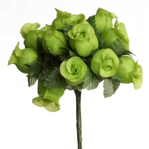 "144 Artificial 3/4"" Apple Green Poly Rose Buds DIY Wedding Bouquet Flowers Craft Decoration"
