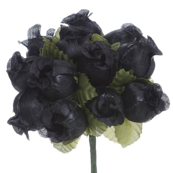 "144 Artificial 3/4"" Black Poly Rose Buds DIY Wedding Bouquet Flowers Craft Decoration"