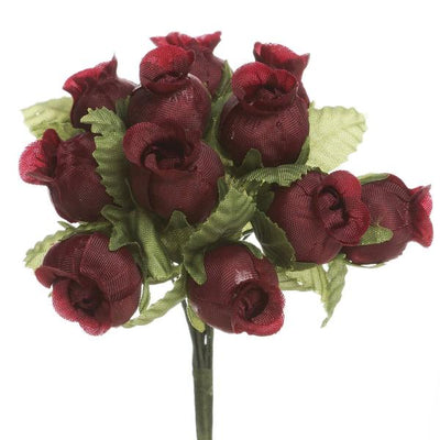 "144 Artificial 3/4"" Burgundy Poly Rose Buds DIY Wedding Bouquet Flowers Craft Decoration"