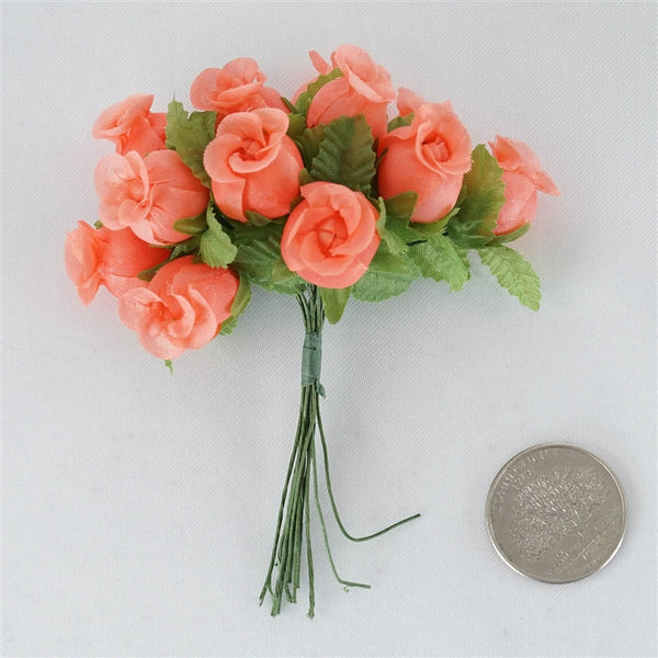 "144 Artificial 3/4"" Coral Poly Rose Buds DIY Wedding Bouquet Flowers Craft Decoration"