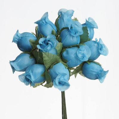 "144 Artificial 3/4"" Turquoise Poly Rose Buds DIY Wedding Bouquet Flowers Craft Decoration"
