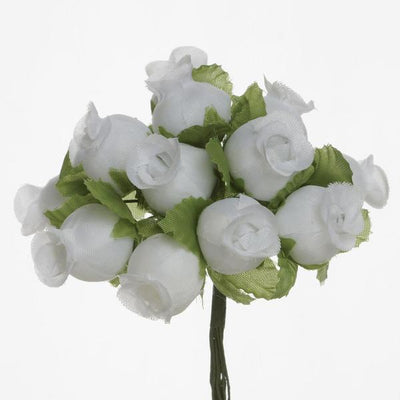 "144 Artificial 3/4"" White Poly Rose Buds DIY Wedding Bouquet Flowers Craft Decoration"