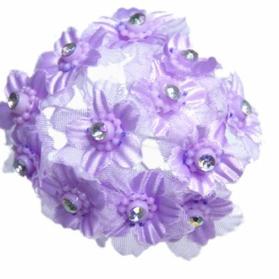120 Pack Rhinestone Lavender Flower For Wedding DIY Craft Applique Brooch