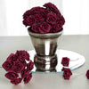 144 Artificial Burgundy Satin Rose Bud DIY Craft Flower Applique Brooch