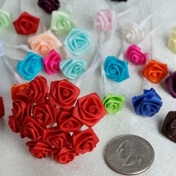 144 Artificial Chocolate Satin Rose Bud DIY Craft Flower Applique Brooch