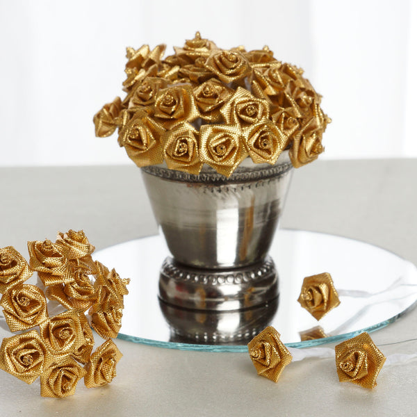 144 Artificial Gold Satin Rose Bud DIY Craft Flower Applique Brooch