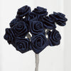 144 Artificial Navy Blue Satin Rose Bud DIY Craft Flower Applique Brooch
