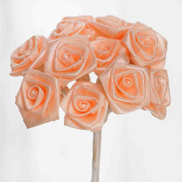 144 Artificial Peach Satin Rose Bud DIY Craft Flower Applique Brooch