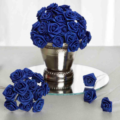 144 Artificial Royal Blue Satin Rose Bud DIY Craft Flower Applique Brooch