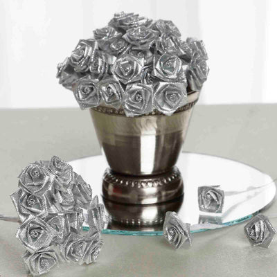 144 Artificial Silver Satin Rose Bud DIY Craft Flower Applique Brooch
