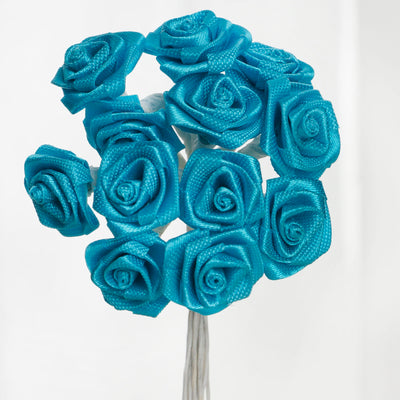 144 Artificial Turquoise Satin Rose Bud DIY Craft Flower Applique Brooch