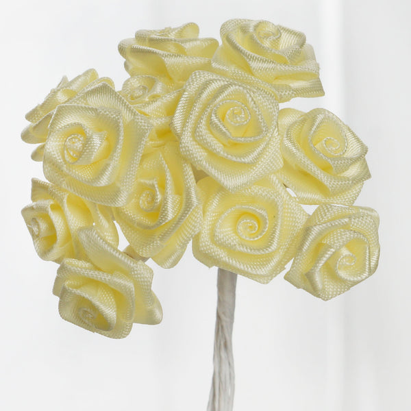 144 Artificial Yellow Satin Rose Bud DIY Craft Flower Applique Brooch