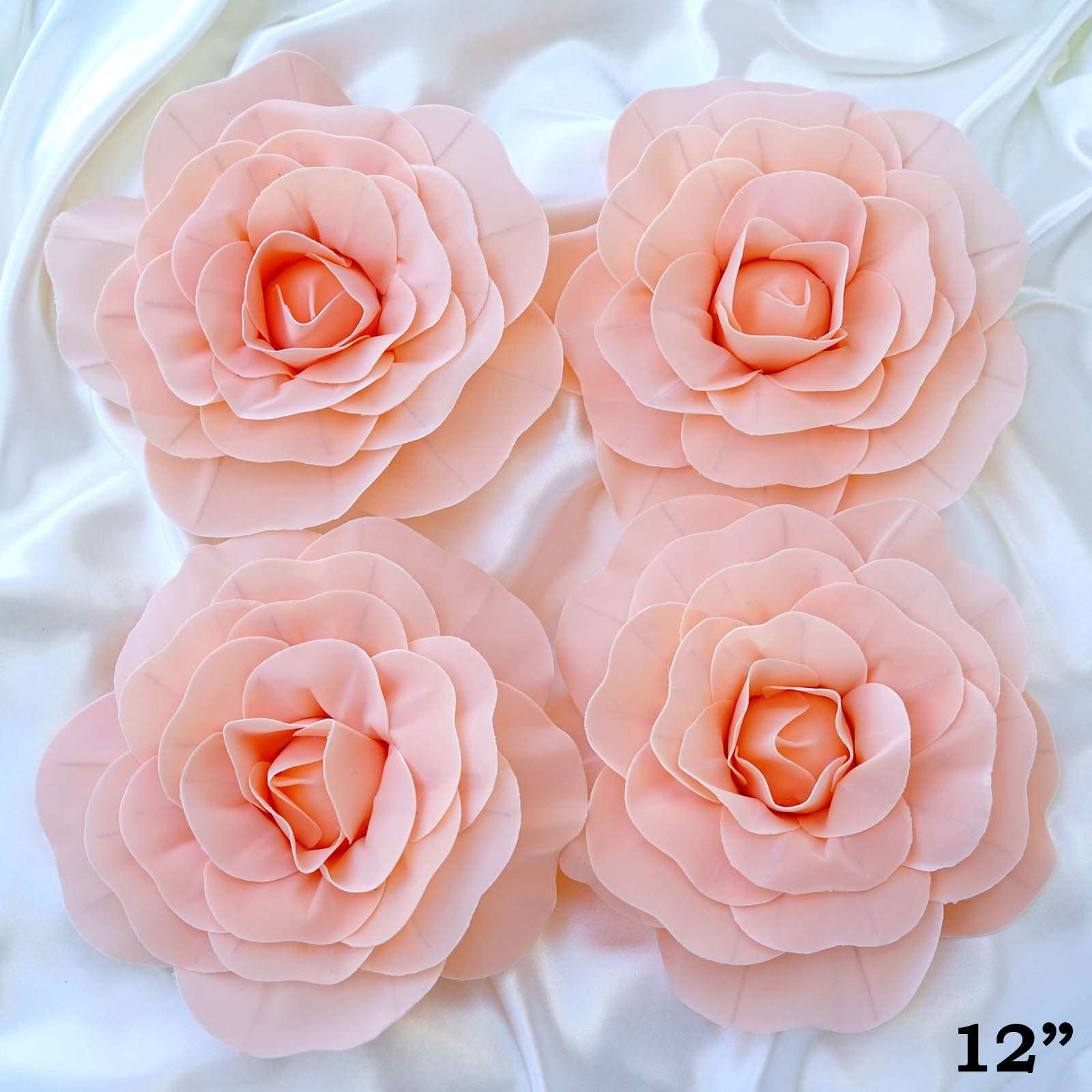 12 Large Real Touch Blush Artificial Foam Paper Craft Rose Diy 3d