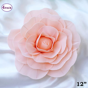 Silk carnations 12 large real touch blush artificial foam paper craft rose diy 3d artificial flowers for mightylinksfo