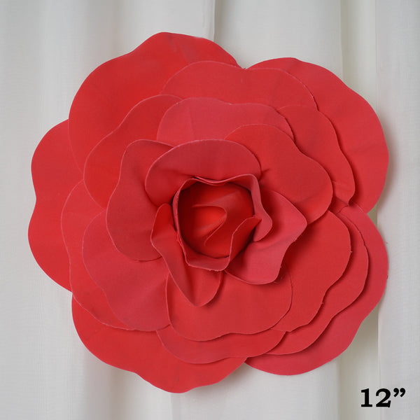 "12"" Large Real Touch Red Artificial Foam Paper Craft Rose DIY 3D Artificial Flowers For Wedding Room Wall Decoration - 4 PCS"
