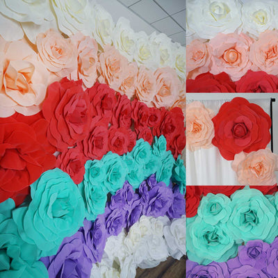 "12"" Large Real Touch Turquoise Artificial Foam Paper Craft Rose DIY 3D Artificial Flowers For Wedding Room Wall Decoration - 4 PCS"
