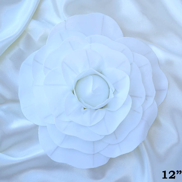 "12"" Large Real Touch White Artificial Foam Paper Craft Rose DIY 3D Artificial Flowers For Wedding Room Wall Decoration - 4 PCS"