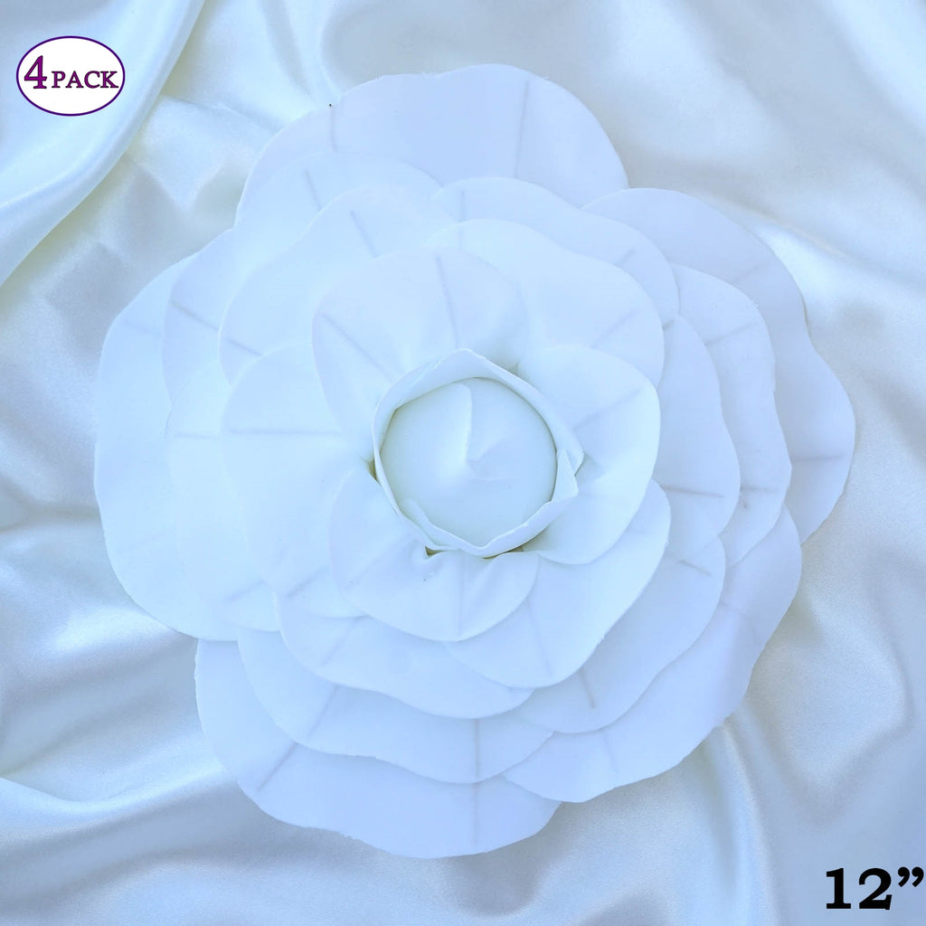 12 Large Real Touch White Artificial Foam Paper Craft Rose Diy 3d