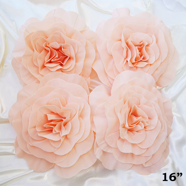 "16"" Large Real Touch Blush Artificial Foam Paper Craft Rose DIY 3D Artificial Flowers For Wedding Room Wall Decoration - 4 PCS"