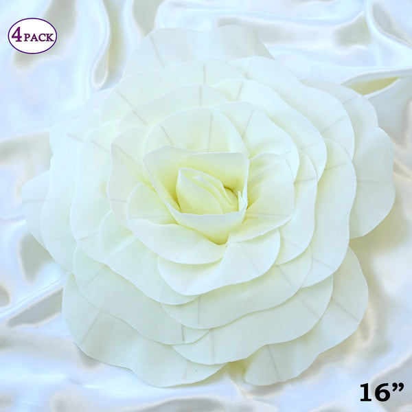 16 large real touch ivory artificial foam paper craft rose diy 3d 16 large real touch ivory artificial foam paper craft rose diy 3d artificial flowers for junglespirit Gallery