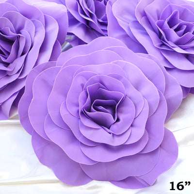 "16"" Large Real Touch Lavender Artificial Foam Paper Craft Rose DIY 3D Artificial Flowers For Wedding Room Wall Decoration - 4 PCS"