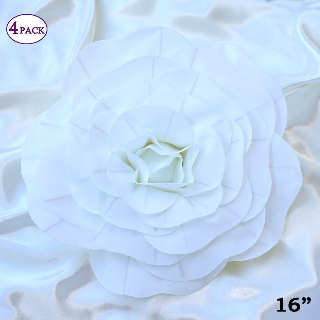 16 Large Real Touch White Artificial Foam Paper Craft Rose Diy 3d