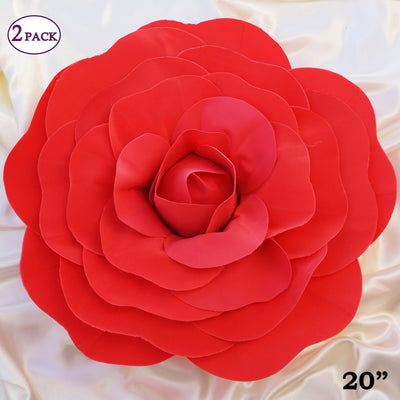 "20"" Giant Real Touch Red Artificial Foam Paper Craft Rose DIY 3D Artificial Flowers For Wedding Room Wall Decoration - 2 PCS"