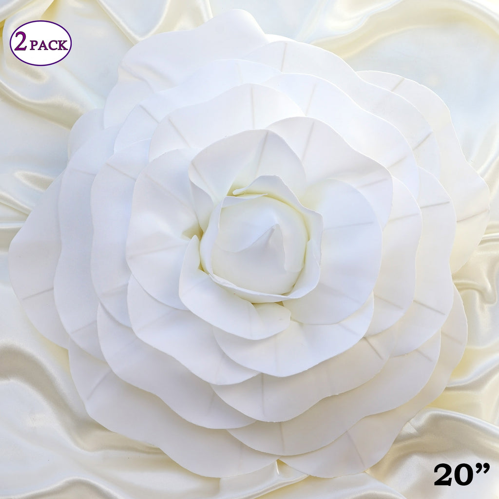 20 Giant Real Touch White Artificial Foam Paper Craft Rose Diy 3d