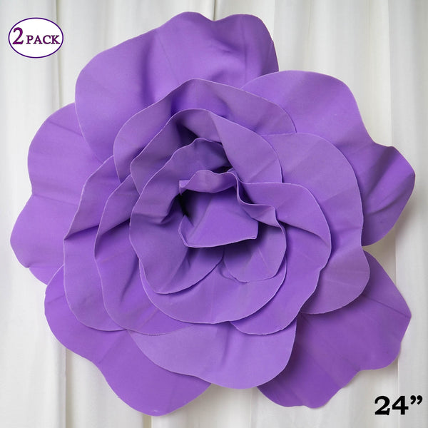"24"" Giant Real Touch Lavender Artificial Foam Paper Craft Rose DIY 3D Artificial Flowers For Wedding Room Wall Decoration - 2 PCS"