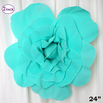 "24"" Giant Real Touch Turquoise Artificial Foam Paper Craft Rose DIY 3D Artificial Flowers For Wedding Room Wall Decoration - 2 PCS"