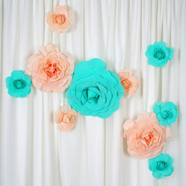 "24"" Giant Real Touch White Artificial Foam Paper Craft Rose DIY 3D Artificial Flowers For Wedding Room Wall Decoration - 2 PCS"