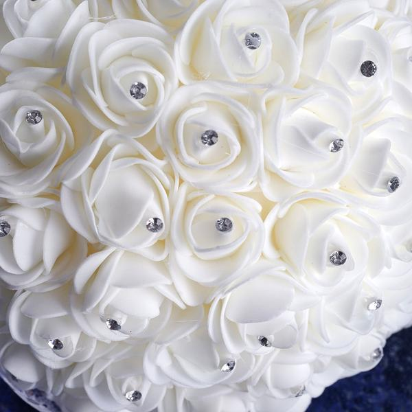 4 PCS White Artificial Rhinestone Studded Foam Rose Flower Wedding Bridal Bouquet With White Satin Ribbon Bows