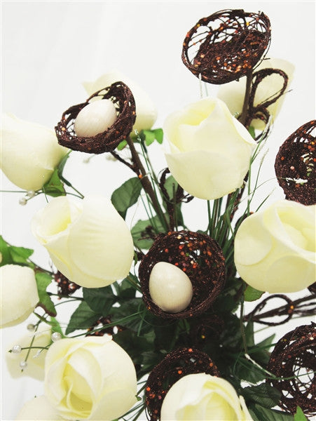 6 x Trio of Glittered Bird's Nest on Stem - Chocolate