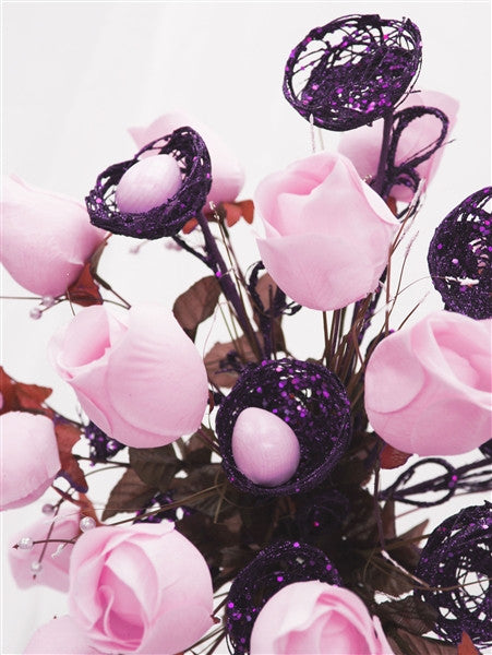 6 x Trio of Glittered Bird's Nest on Stem - Purple