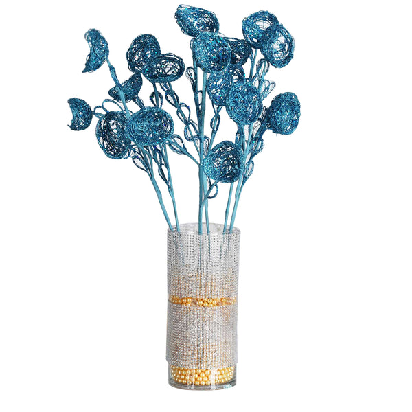 6 x Trio of Glittered Bird's Nest on Stem - Turquoise