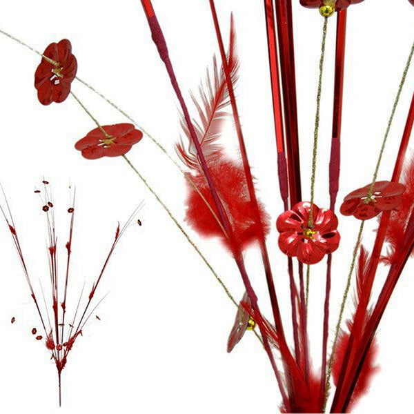 6 x Shiny Blossoms with Small Beads and Feathers on Long Stems - Red( Sold Out )