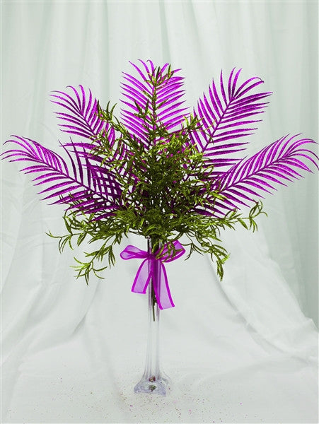 6 x Glittered Tropical Palm Leaf - Purple