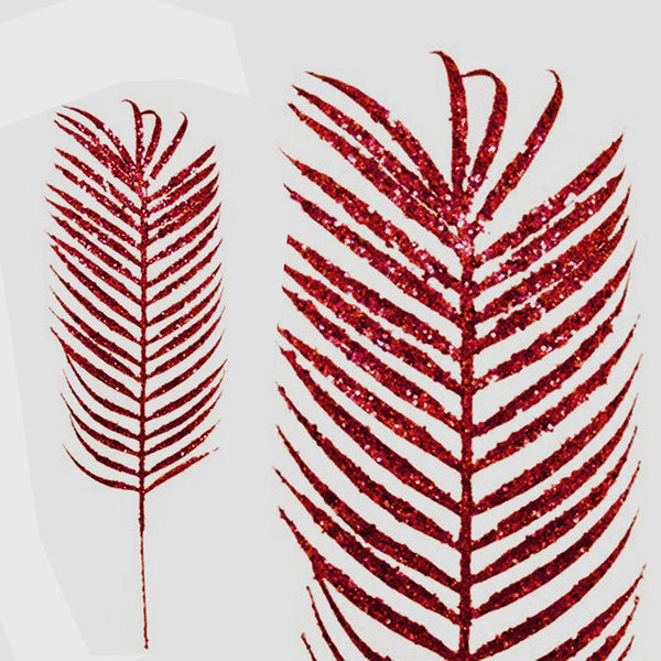 6 x Glittered Tropical Palm Leaf - Red