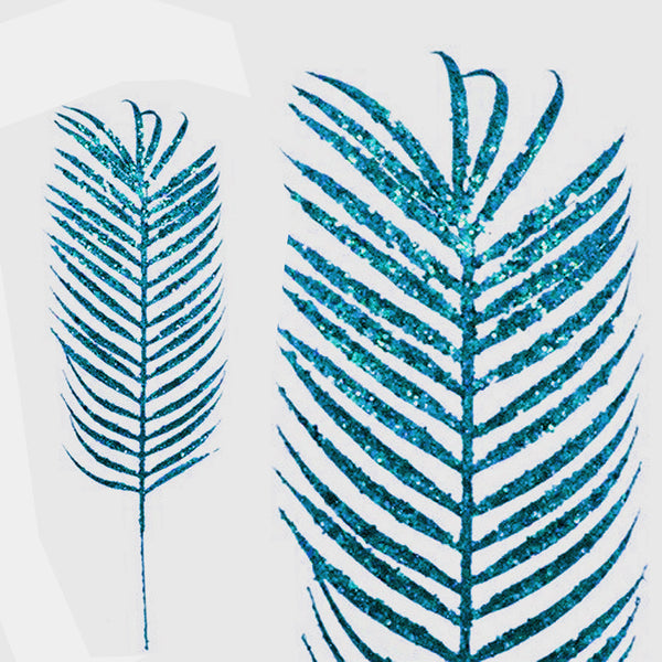 6 x Glittered Tropical Palm Leaf - Turquoise